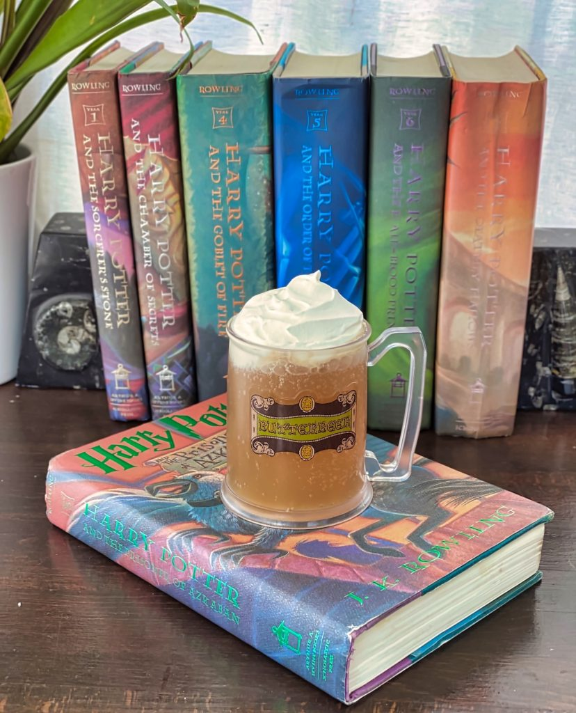 Butterbeer in Mug with Harry Potter Books